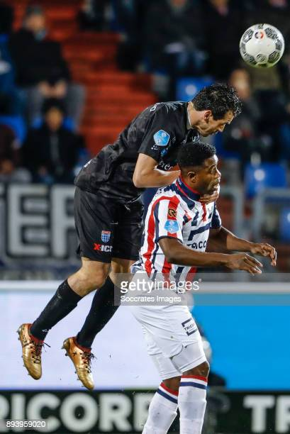 Dirk Marcellis of PEC Zwolle Bartholomew Ogbeche of Willem II during the Dutch Eredivisie match between Willem II v PEC Zwolle at the Koning Willem...