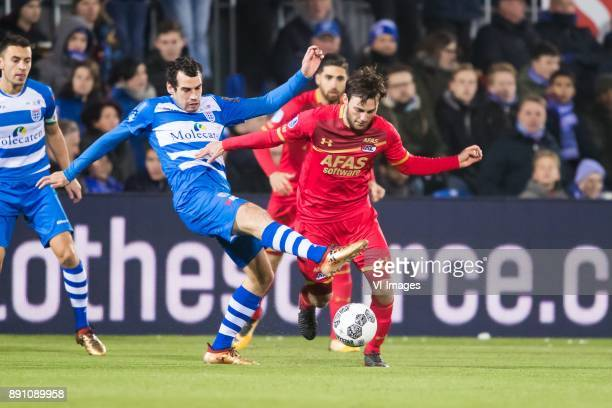 Dirk Marcellis of PEC Zwolle Joris van Overeem of AZ during the Dutch Eredivisie match between PEC Zwolle and AZ Alkmaar at the MAC3Park stadium on...