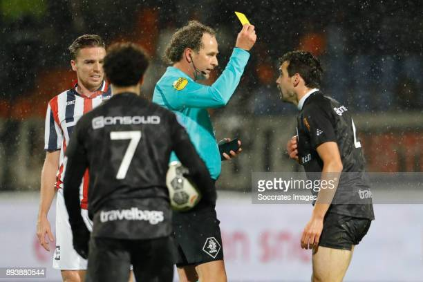 Dirk Marcellis of PEC Zwolle receives a yellow card from referee Reinold Wiedemeijer during the Dutch Eredivisie match between Willem II v PEC Zwolle...