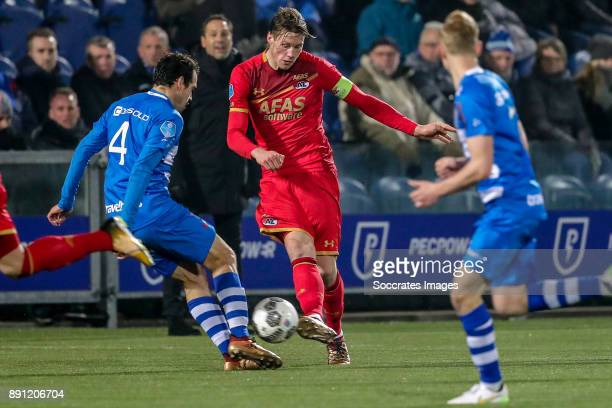 Dirk Marcellis of PEC Zwolle Wout Weghorst of AZ Alkmaar during the Dutch Eredivisie match between PEC Zwolle v AZ Alkmaar at the MAC3PARK Stadium on...