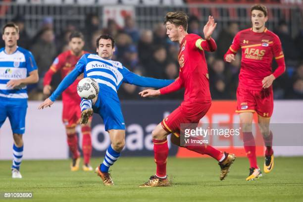 Dirk Marcellis of PEC Zwolle Wout Weghorst of AZ during the Dutch Eredivisie match between PEC Zwolle and AZ Alkmaar at the MAC3Park stadium on...