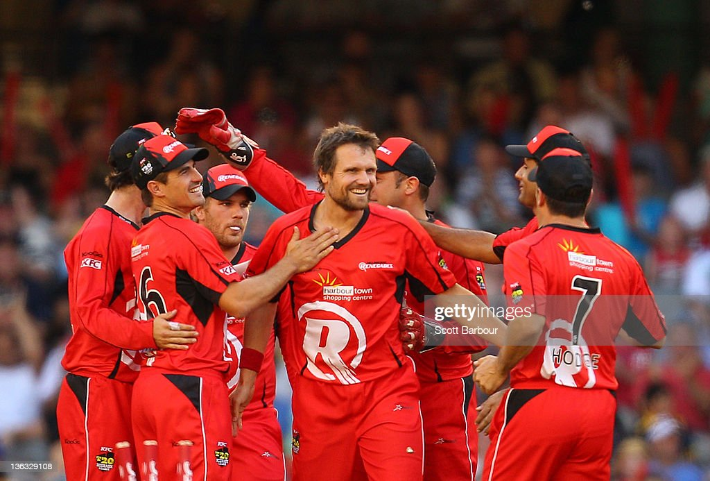 Dirk Nannes of the Renegades celebrates with his team mates after dismissing Dwayne Bravo of the Sixers during the T20 Big Bash League match between the Melbourne Renegades and the Sydney Sixers at Etihad Stadium on January 2, 2012 in Melbourne, Australia.