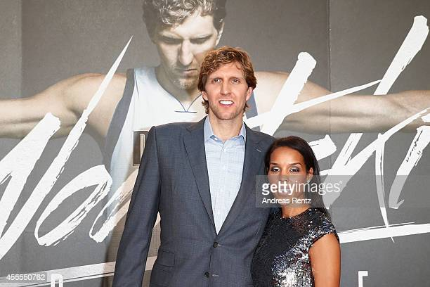 Dirk Nowitzki and his wife Jessica Nowitzki attend the premiere of the film 'Nowitzki Der Perfekte Wurf' at Cinedom on September 16 2014 in Cologne...