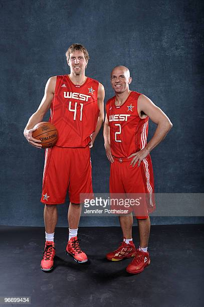Dirk Nowitzki and Jason Kidd of the Western Conference pose for a portrait prior to the NBA AllStar game as part of the 2010 NBA AllStar Weekend on...