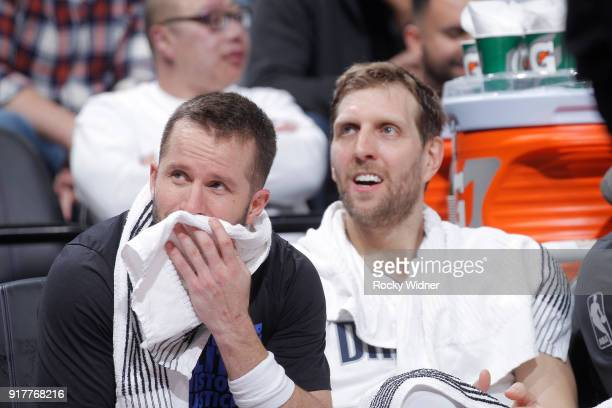 Dirk Nowitzki and JJ Barea of the Dallas Mavericks look on during the game against the Sacramento Kings on February 3 2018 at Golden 1 Center in...