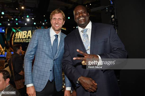 Dirk Nowitzki and Shaquille O'Neal attend the 2017 NBA Awards Live on TNT on June 26 2017 in New York New York 27111_002