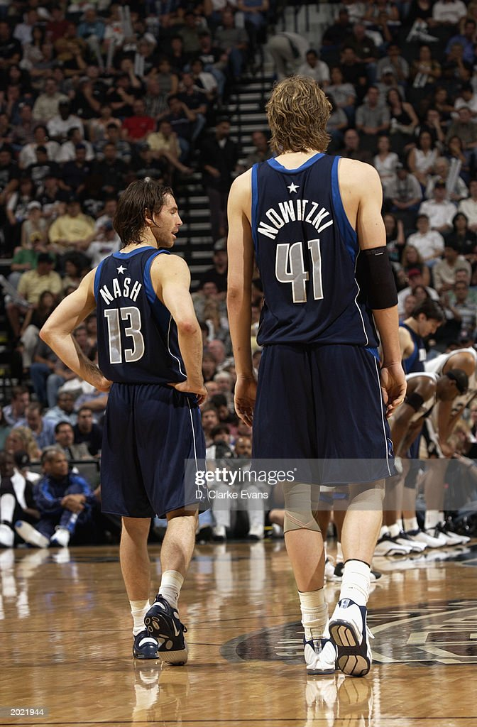 low priced a7e1b 79509 Dirk Nowitzki and Steve Nash of the Dallas Mavericks walk up ...