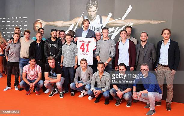 Dirk Nowitzki and the team of the 1. FC Koeln Football Club attend the premiere of the film 'Nowitzki. Der Perfekte Wurf' at Cinedom on September 16,...