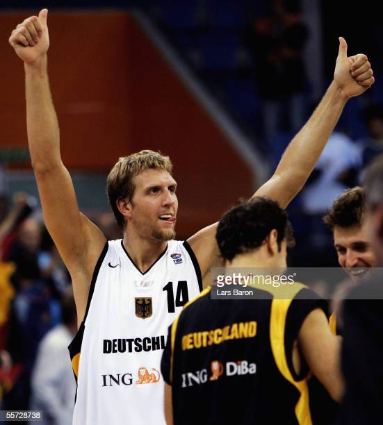 Dirk Nowitzki from Germany celebrates winning the FIBA EuroBasket 2005 elimination match between Germany and Turkey at the Millenium Hall on...