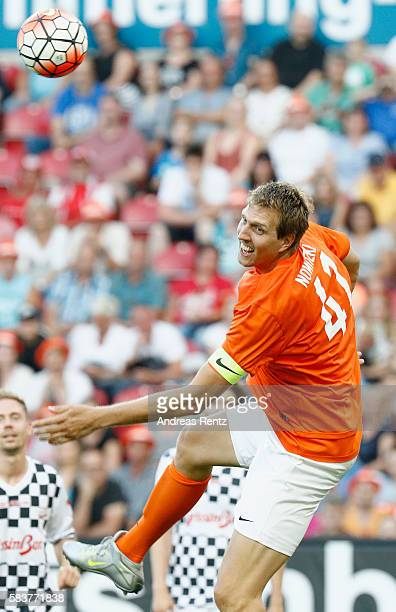 Dirk Nowitzki jumps for a header during the 'Champions for charity' football match between Nowitzki All Stars and Nazionale Piloti in honor of...
