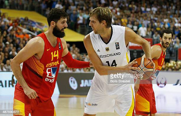 Dirk Nowitzki of Germany drives to the basket against Nikola Mirotic of Spain during the FIBA EuroBasket 2015 Group B basketball match between...