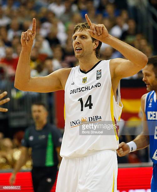 Dirk Nowitzki of Germany gestures during the FIBA EuroBasket 2015 Group B basketball match between Germany and Iceland at Arena of EuroBasket 2015 on...