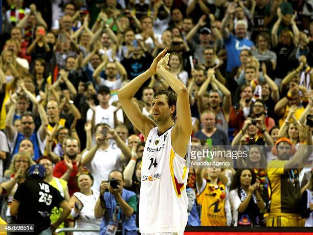 Dirk Nowitzki of Germany greets supporters at the EuroBasket 2015 Group B basketball match between Germany and Spain at Mercedes Benz Arena in Berlin...