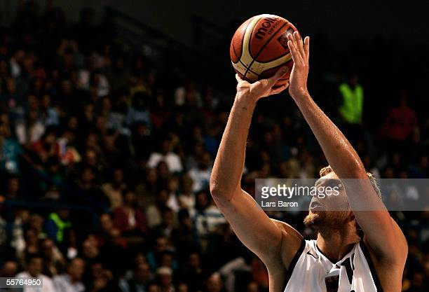 Dirk Nowitzki of Germany in action during the FIBA EuroBasket 2005 semi final match between Germany and Spain on September 24, 2005 in Belgrade,...