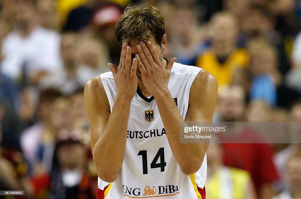 Dirk Nowitzki of Germany looks dejected after losing the FIBA EuroBasket 2015 Group B basketball match between Germany and Spain at Arena of EuroBasket 2015 on September 10, 2015 in Berlin, Germany.
