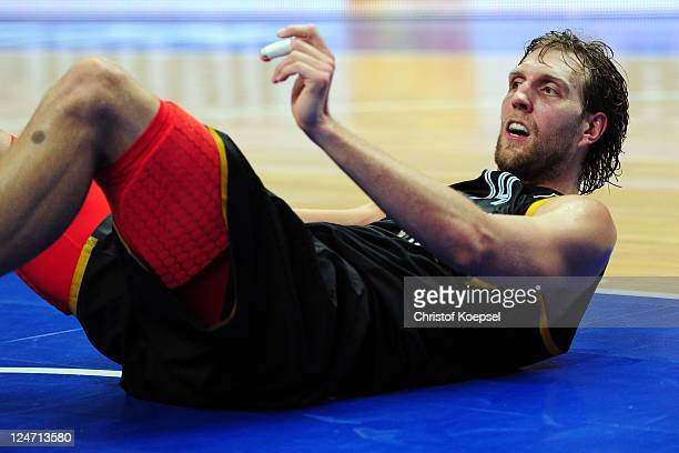 Dirk Nowitzki of Germany looks dejected after the EuroBasket 2011 second round group E match between Lithuania and Germany at Siemens Arena on...