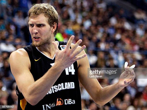 Dirk Nowitzki of Germany reacts during the FIBA EuroBasket 2005 final match between Greece and Germany on September 25, 2005 in Belgrade, Serbia and...
