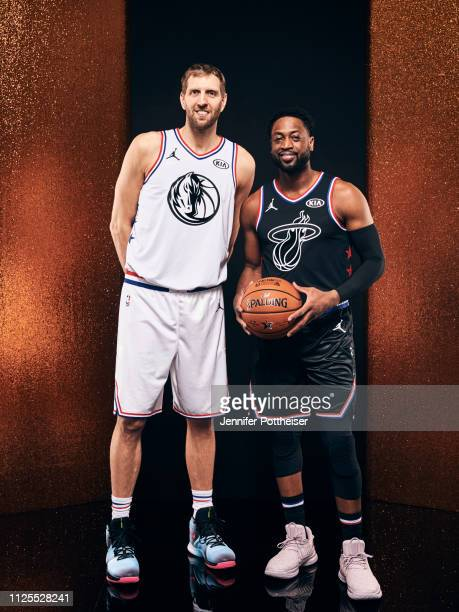 Dirk Nowitzki of Team Giannis and Dwyane Wade of Team LeBron poses for a portrait before the 2019 NBA AllStar game on February 17 2019 at the...