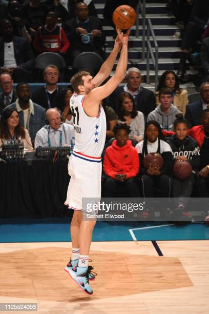 Dirk Nowitzki of Team Giannis shoots the ball against Team LeBron during the 2019 NBA AllStar Game on February 17 2019 at the Spectrum Center in...