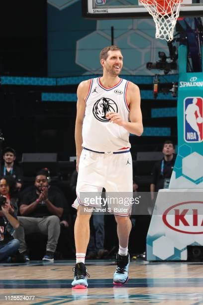 Dirk Nowitzki of Team Giannis smiles during the 2019 NBA AllStar Game on February 17 2019 at the Spectrum Center in Charlotte North Carolina NOTE TO...