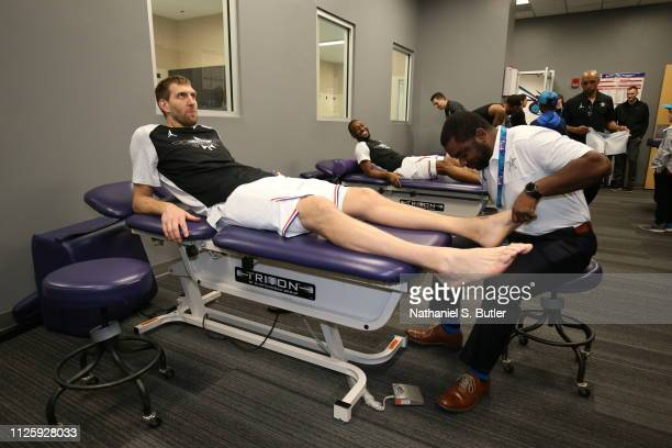 Dirk Nowitzki of Team Giannis stretches before the game against Team LeBron during the 2019 NBA AllStar Game on February 17 2019 at the Spectrum...
