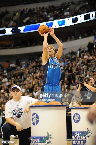 Dirk Nowitzki of Team Texas shoots a jumpshot during the Haier Shooting Stars Competition as part of All Star Saturday Night during 2010 NBA All Star...