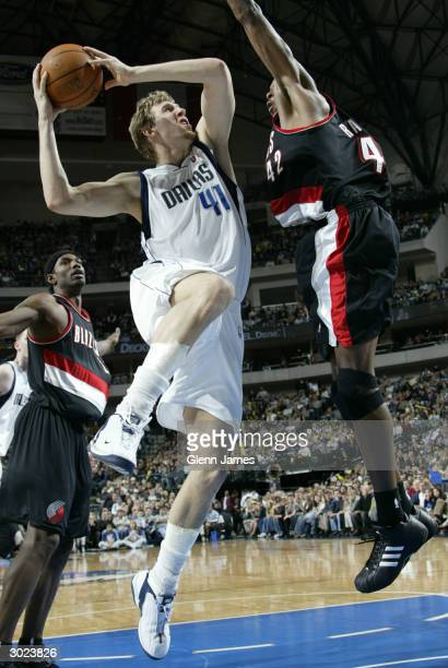 Dirk Nowitzki of the Dallas Mavericks against the Portland Trail Blazers on February 28 2004 at the American Airlines Center in Dallas Texas NOTE TO...