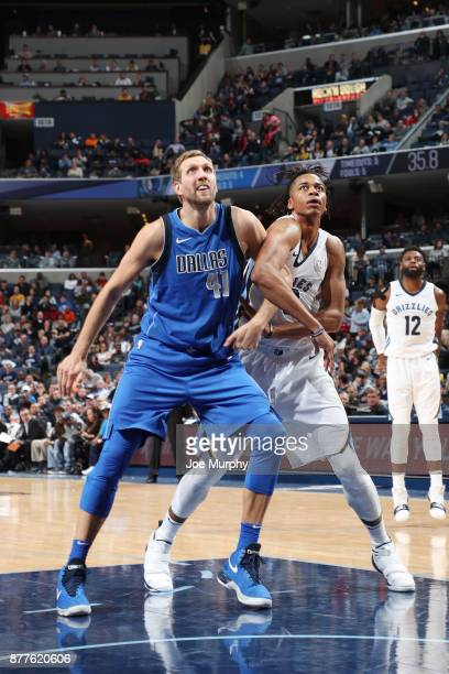 Dirk Nowitzki of the Dallas Mavericks and Deyonta Davis of the Memphis Grizzlies await the ball on November 22 2017 at FedExForum in Memphis...