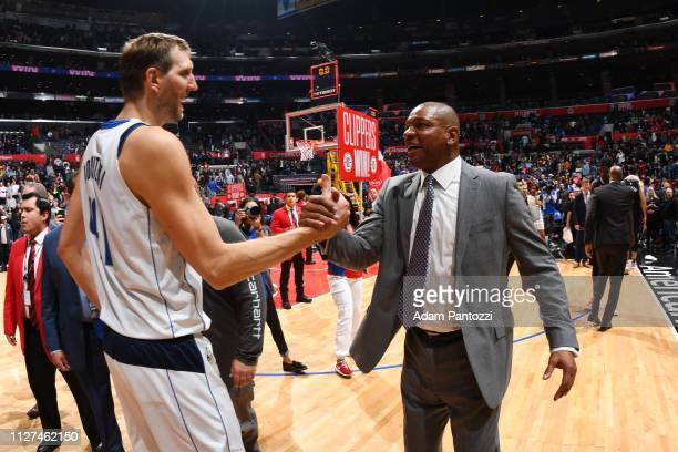 Dirk Nowitzki of the Dallas Mavericks and Head Coach Doc Rivers of the LA Clippers shake hands after a game on February 25 2019 at STAPLES Center in...