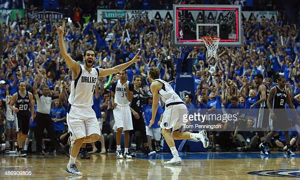 Dirk Nowitzki of the Dallas Mavericks and Jose Calderon of the Dallas Mavericks celebrate after the Dallas Mavericks beat the San Antonio Spurs...