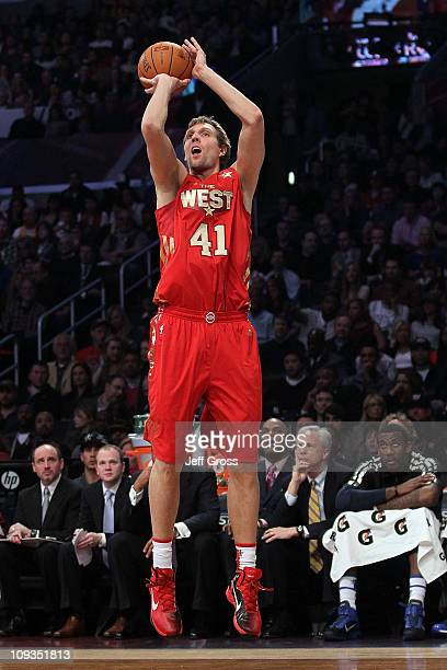 Dirk Nowitzki of the Dallas Mavericks and the Western Conference shoots a jumper in the 2011 NBA AllStar Game at Staples Center on February 20 2011...