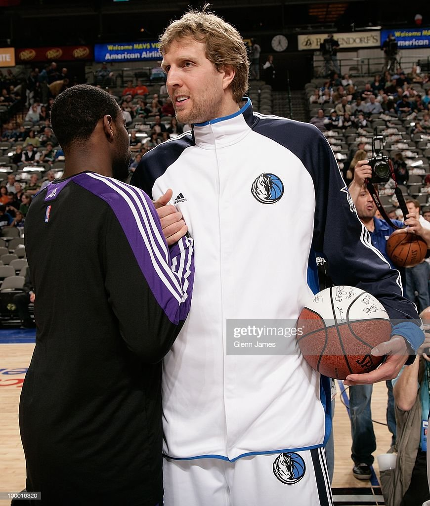 Dirk Nowitzki #41 of the Dallas Mavericks and Tyreke Evans #13 of the Sacramento Kings shake hands before the game at the American Airlines Center on March 5, 2010 in Dallas, Texas. The Mavericks won 108-100.
