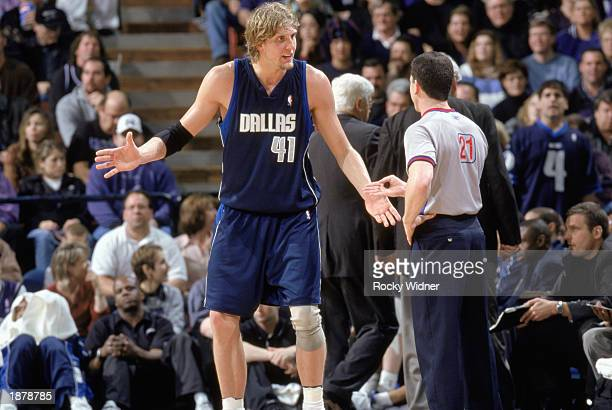 Dirk Nowitzki of the Dallas Mavericks argues with referee Tim Donaghy during the NBA game against the Sacramento Kings at Arco Arena on March 16,...