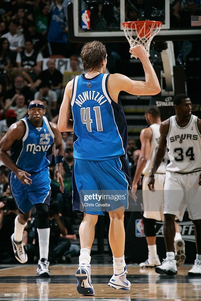 Dirk Nowitzki #41 of the Dallas Mavericks celebrates after a play against the San Antonio Spurs in Game Three of the Western Conference Quarterfinals during the 2010 NBA Playoffs on April 23, 2010 at the AT&T Center in San Antonio, Texas. The Spurs won 94-90.