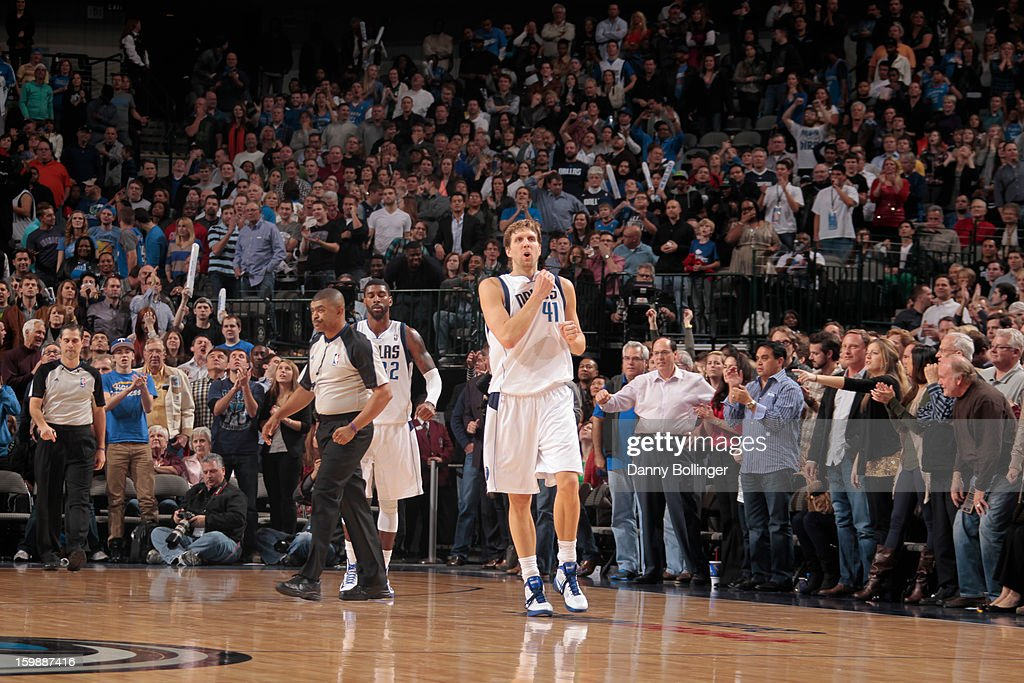 Dirk Nowitzki #41 of the Dallas Mavericks celebrates after a shot against the Oklahoma City Thunder on January 18, 2013 at the American Airlines Center in Dallas, Texas.