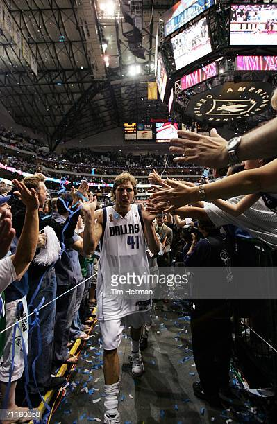 Dirk Nowitzki of the Dallas Mavericks celebrates after Game One of the 2006 NBA Finals against the Miami Heat June 8 2006 at American Airlines Center...