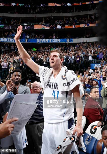Dirk Nowitzki of the Dallas Mavericks celebrates after scores his 30000th career point against the Los Angeles Lakers on March 7 2017 at the American...