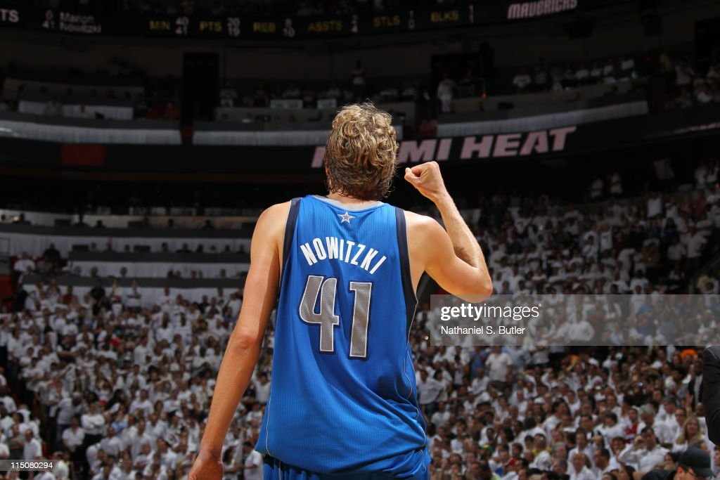 Dirk Nowitzki #41 of the Dallas Mavericks celebrates against the Miami Heat during Game Two of the 2011 NBA Finals on June 02, 2011 at the American Airlines Arena in Miami, Florida.