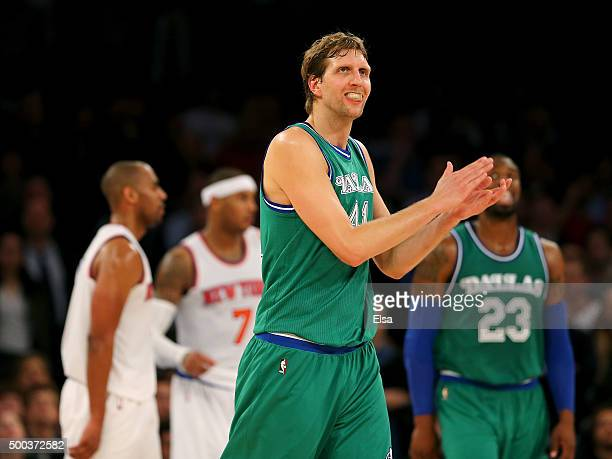 Dirk Nowitzki of the Dallas Mavericks celebrates in the fourth quarter against the New York Knicks at Madison Square Garden on December 7 2015 in New...
