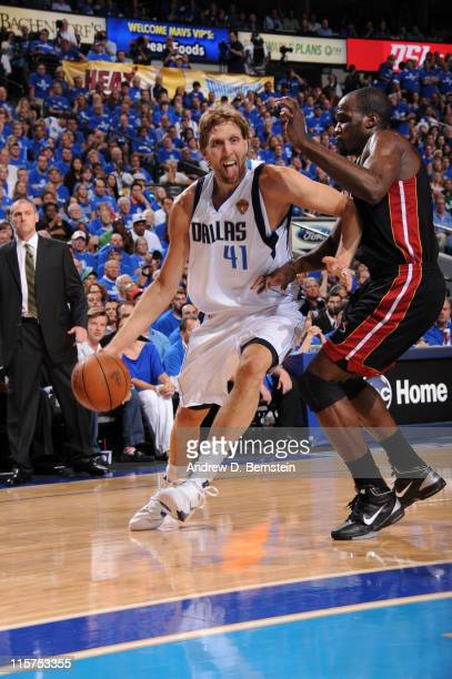 Dirk Nowitzki of the Dallas Mavericks drives to the basket against Joel Anthony of the Miami Heat during Game Five of the 2011 NBA Finals on June 9...