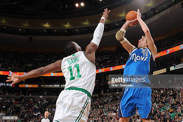 Dirk Nowitzki of the Dallas Mavericks goes up for a shot against Glen Davis of the Boston Celtics during the game on January 18 2009 at the TD...