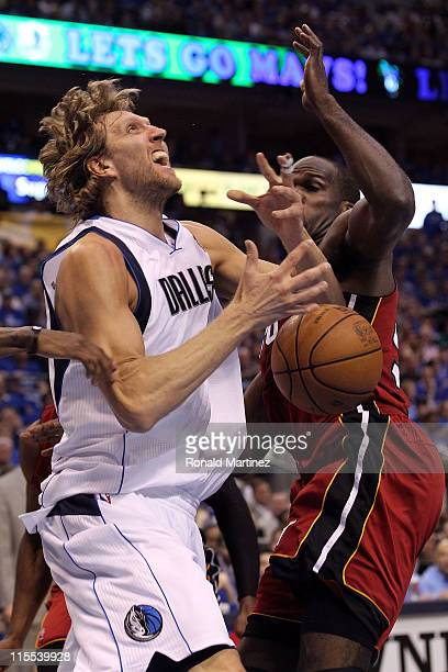 Dirk Nowitzki of the Dallas Mavericks goes up for a shot against Joel Anthony of the Miami Heat in the second quarter in Game Four of the 2011 NBA...
