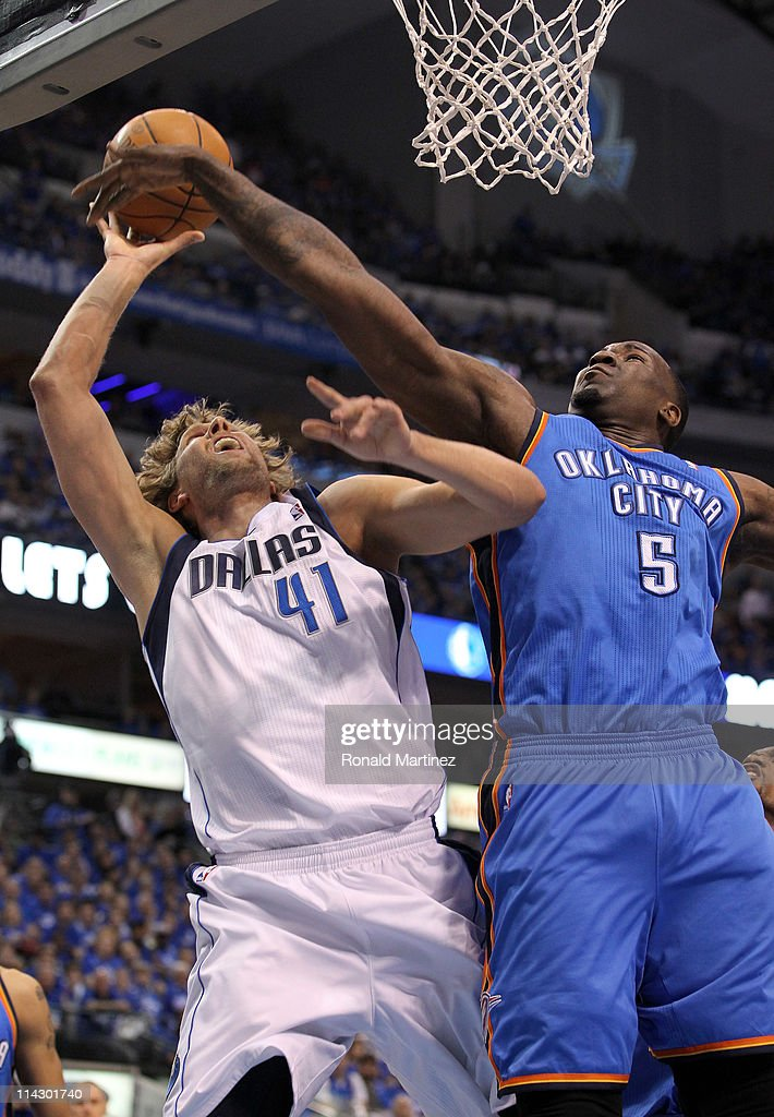 Dirk Nowitzki #41 of the Dallas Mavericks goes up for a shot against Kendrick Perkins #5 of the Oklahoma City Thunder in the first quarter in Game One of the Western Conference Finals during the 2011 NBA Playoffs at American Airlines Center on May 17, 2011 in Dallas, Texas.