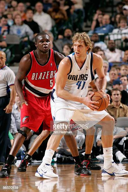 Dirk Nowitzki of the Dallas Mavericks guards the ball against Zach Randolph of the Portland Trail Blazers on January 3 2006 at American Airlines...