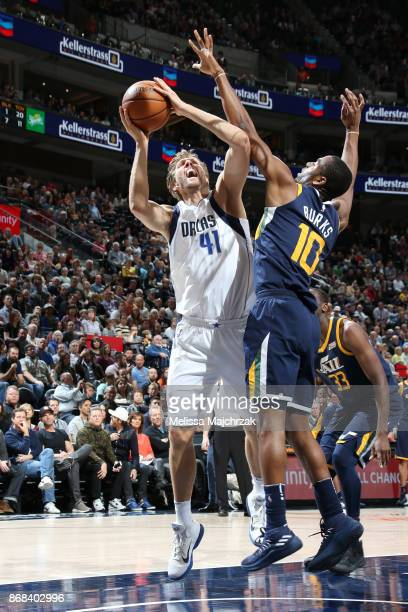 Dirk Nowitzki of the Dallas Mavericks handles the ball against the Utah Jazz on October 30 2017 at Vivint Smart Home Arena in Salt Lake City Utah...