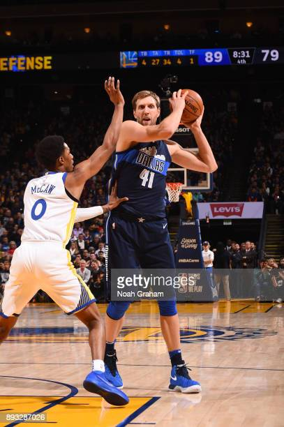 Dirk Nowitzki of the Dallas Mavericks handles the ball against the Golden State Warriors on December 14 2017 at ORACLE Arena in Oakland California...