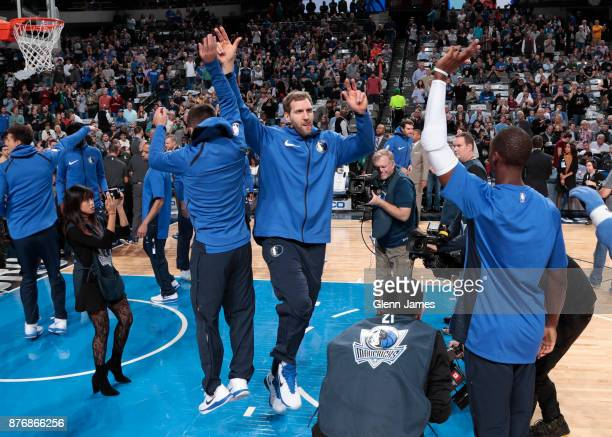 Dirk Nowitzki of the Dallas Mavericks is introduced prior to the game against the Boston Celtics on November 20 2017 at the American Airlines Center...