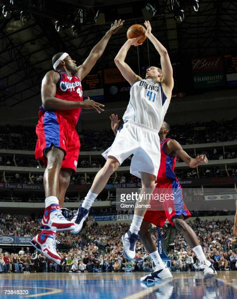 Dirk Nowitzki of the Dallas Mavericks lays it up against the Los Angeles Clippers on April 9, 2007 at the American Airlines Center in Dallas, Texas....