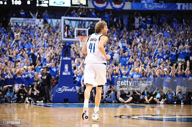 Dirk Nowitzki of the Dallas Mavericks looks on against the Miami Heat during Game Five of the 2011 NBA Finals on June 9 2011 at the American Airlines...