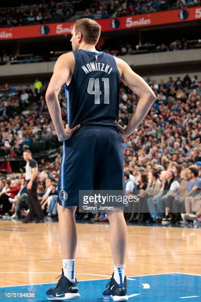Dirk Nowitzki of the Dallas Mavericks looks on during the game against the New Orleans Pelicans on December 26 2018 at the American Airlines Center...